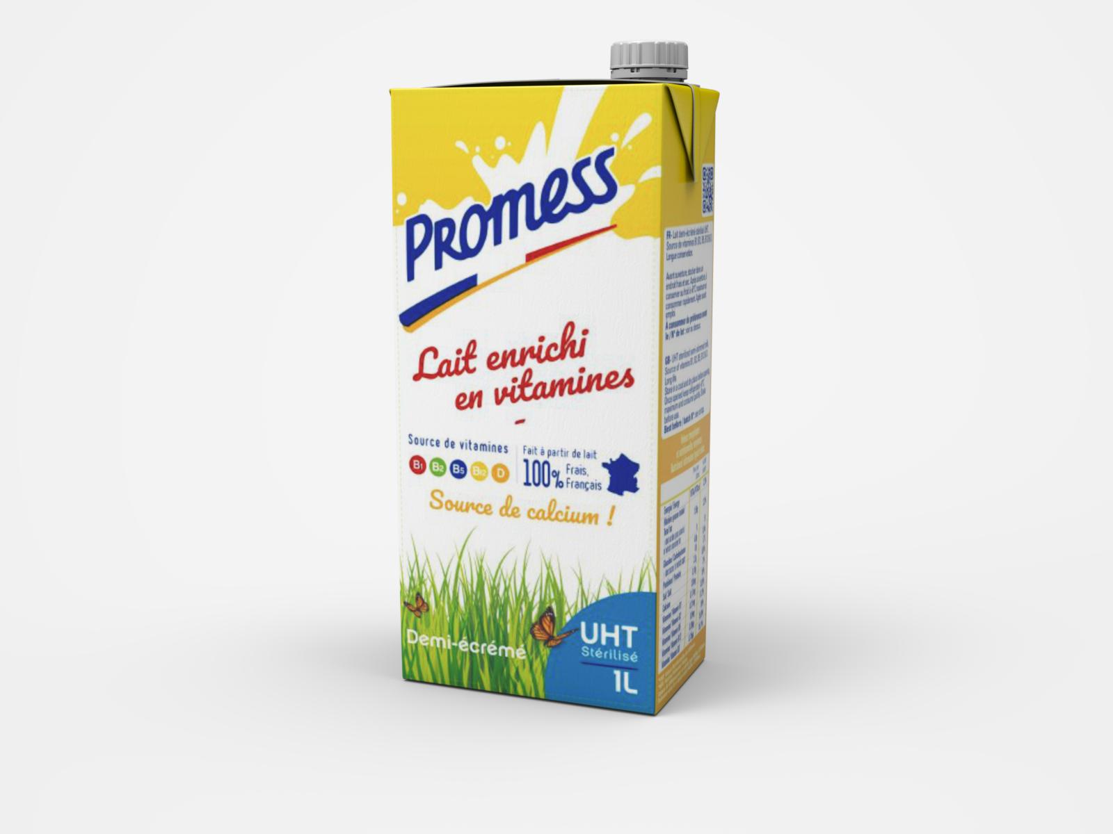 1L Brick Vitamin enriched milk - Front view